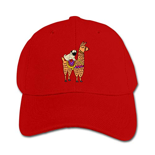 Cute Pug Dog Riding On Llama Unisex Sports Cap Teen Hut Sunproof Kids Cap Hip-Hop Cap Verstellbare Baseball Cap Sun Hat für Kinder