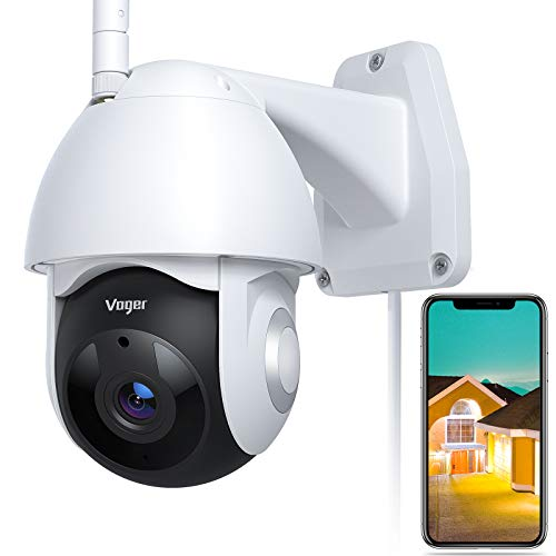 Security Camera Outdoor, Voger 360° View WiFi Home Security Camera System 1080P with IP66 Weatherproof Motion Detection Night Vision 2-Way Audio Cloud Camera Works with Alexa and Google Home. Buy it now for 49.99