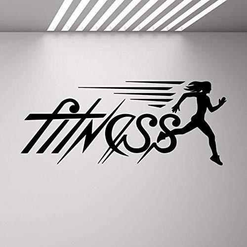 Wfnbzd Calcomanía de Pared de Fitness Running Girl Gym Logo Quote Run Poster Fitness Exercise Runner Vinilo Pegatina Inspirador Decorativo Arte de Pared 138X57CM