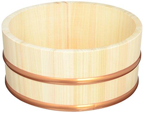 木曽工芸 湯桶 日本製 木製 丸湯桶 樹脂タガ 22.5cm タガが外れない