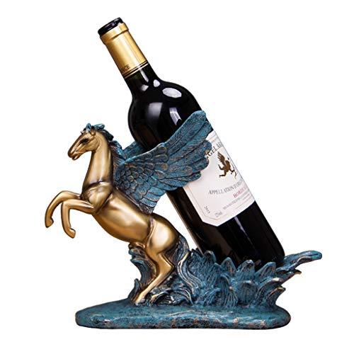 YJWKR Sculptuur decoratie Antiek Pegasus standbeeld Wijn Fles Houder Decoratieve Hars Gevleugelde Paard Sculptuur Wijn Rack Constellatie Barware Ornament Ambacht