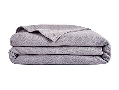 Lacoste Chevron Bezug aus Baumwollmischgewebe, Doppelbett, Storm Grey