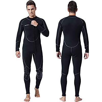 Mens 3mm Shorty Wetsuit Womens, Full Body Diving Suit Front Zip Wetsuit for Diving Snorkeling Surfing Swimming (Men's Fullsuit, X-Small)