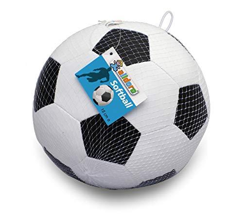alldoro 60312 Softball Ø 18 cm, Fußball in schwarz/weiß, Softfußball aus Schaumstoff, weicher Schaumstoffball, Kinderball für Drinnen und Draußen, Spielball für Kinder und Babys ab 0 Monaten