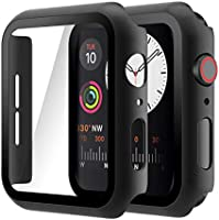 Hianjoo (2 Pack) Case Compatible with Apple Watch SE Series 6 Series 5 Series 4 44mm, Built-in Thin HD Tempered Glass...