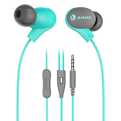 Earphones, Anmii S2 Earbuds In-ear Headphones with Microphone, Dynamic Crystal Clear Sound, Ergonomic Comfort-Fit Headset for Android/PC/Table (Light Blue or Mint Green)