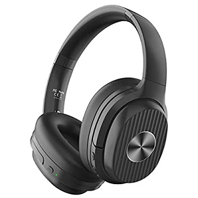 EKSA Active Noise Cancelling Headphones Bluetooth 5.0, 60 Hrs Playtime, Wireless Headphones with Quick Charge CVC 8.0 Mic Soft Earpads HIFI Deep Bass Bluetooth Headphones Over Ear for Business Travel by Eksa
