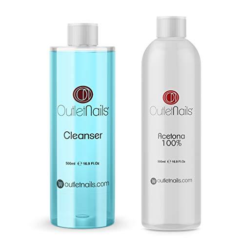Cleaner 500ml Coco Azul + Acetona 100% Pura 500ml