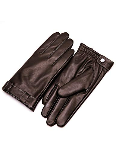 YISEVEN Herren Lederhandschuhe Gefüttert Touchscreen Warm Echtleder Handschuhe Lederhandschuhe Lammfell Autofahrerhandschuhe Herrenhandschuhe Männer Autohandschuhe Geschenk, Braun XL/10.0