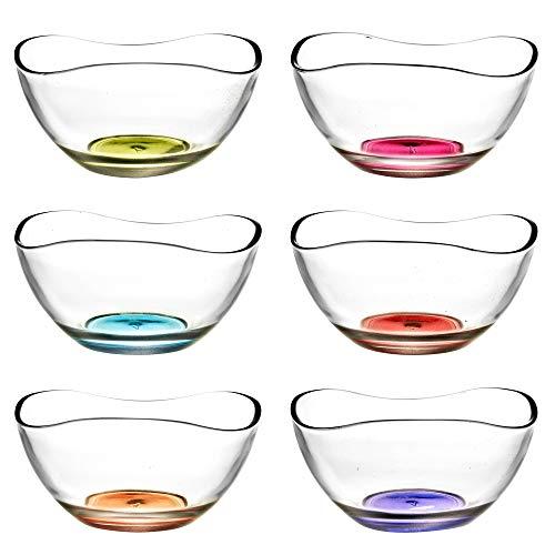 6 x Glasschalen Dessertschalen bunt Wellendesign zum Servieren von Eis, Obstsalat & Kuchen
