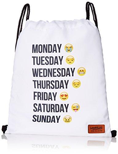Loomiloo Emoji Week Semana Emoticons Smileys Bolsa stringbag Yute Bolsa de Deporte Bolsa Bolsa de Deporte Hipster Saco Bandolera loomi disfrazados Swag (Color Blanco)
