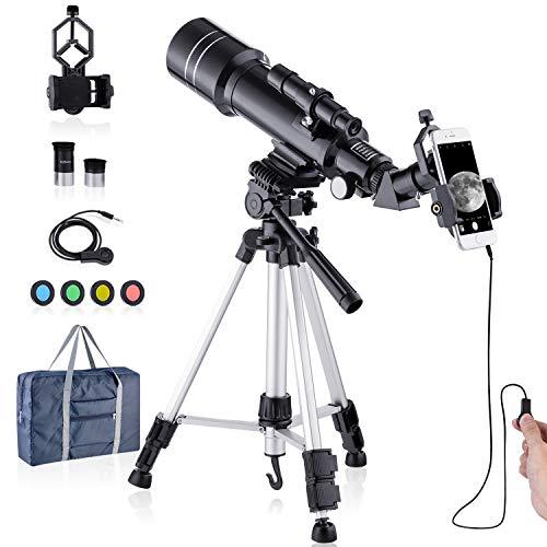 HUTACT Telescopio Astronomicos 400/70mm para Niños Adultos Principiantes HD Telescopios Profesionales - Mirar la Luna, Mirar pájaros, Mirar el Paisaje Natural, Mirar los Animales Salvajes