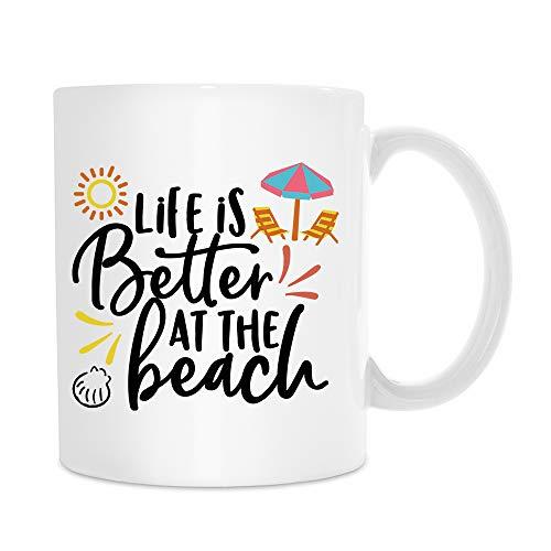 Esta divertida taza de café 'Life is Better at the Beach' será un regalo ideal para las mujeres. Regalo para madre, abuela, esposa, amiga, Navidad, cumpleaños, día de la madre, día de San Valentín.