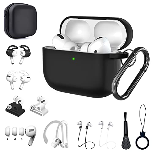 Airpods Pro Case, 15 in 1 Airpod pro Accessories Set Kit, Silicone Anti-Lost Straps/Watch Band Holder/Ear Hooks/Storage Box/Ear Tips for Apple Airpods 3 Charging Case Cover Skin with Keychain (Black)