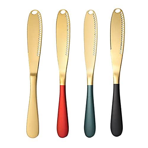 4 Piezas Cuchillo de Mantequilla 3 en 1 Cuchillo Esparcidor de Mantequilla de Acero Inoxidable Cuchillo Rizador de Mantequilla con Borde dentado para Cortar Mantequilla y Pan