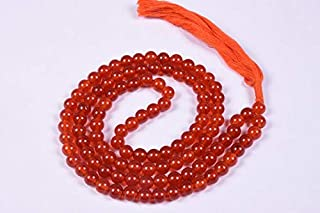 Zoya Gems & Jewellery Carnelian Jade Smooth 6mm Mala Beads,108 Beads Hand Made Mala Necklace,Prayer Beads,Yoga Jewellery,B...
