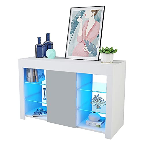 Artist Hand White Sideboard Cabinet, 94CM Modern White Gloss Sideboard Storage Cabinet, Wooden Cupboard Display Cabinets With LED Lights 4 Glass Shelves For Dining Room Living Room Home Furniture
