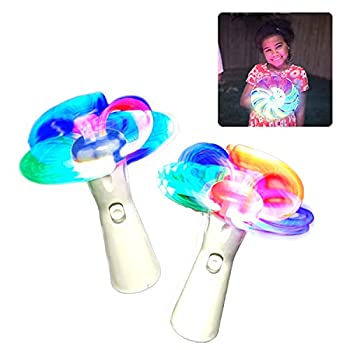 WeGlow - Spinning Light Up Wand - Illuminating LED Spin Kids Toy - Fun Stuffers for Goodie Bags Birthday Party Favors Carnival Prize - Batteries Included - 2 Pack