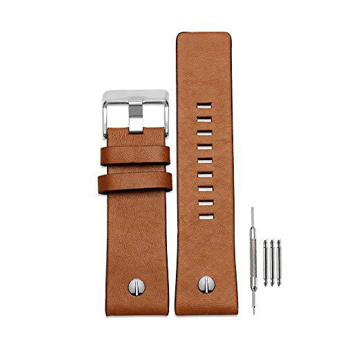 Pulseira de couro para relógio Finjin R de couro de bezerro adequada para relógios masculinos Diesel, Marrom, 22 mm