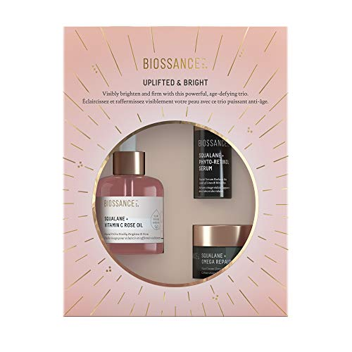 Biossance Uplifted And Bright - 3-Piece Set Includes Squalane + Vitamin C Rose Oil, Phyto-Retinol Serum for Face and Omega Repair Cream - Wrinkle-Fighting Facial Set for Firmer, Brighter Looking Skin