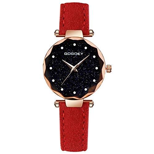 Casual Mujer Moda Mujer Reloj De Pulsera Dial del Rectángulo Taladro Simple Exfoliante Suave Correa del Reloj, Señoras De Las Muchachas Regalos (Color : Red)