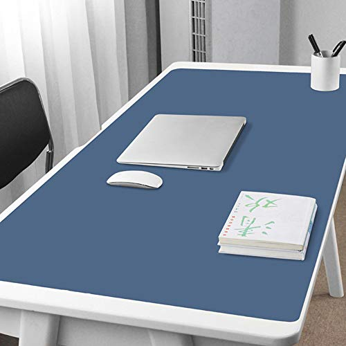Extended Desk Pad Protector Office Mouse Pad,PU Leather Waterproof Anti-slip Desk Mat Blotter Large Writing Mat For Computer Keyboard-blue 60x30cm(24x12inch)
