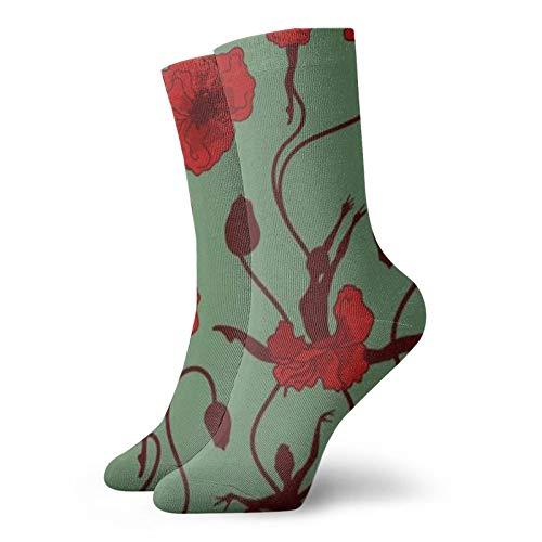 Calcetines cortos de ballet abstractos de flores, de 30 cm de largo, para hombres y mujeres