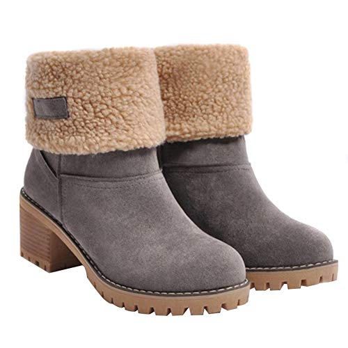 Dušial Ankle Boots for Women Snow Winter Boots Suede Thickened Cotton Thick Sole Middle Heels Winter Shoes Keep Warm