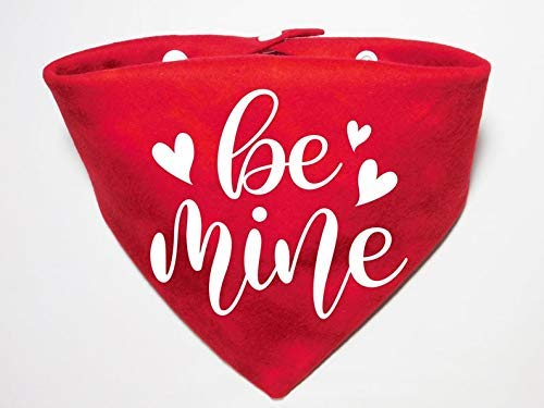 Cute Washable Solid Color Whoa Dog E Be Mine Valentine's Day Dog Cat Pet Bandana Triangle Bibs Holiday Scarf For Extra Small Small Medium Large Animals