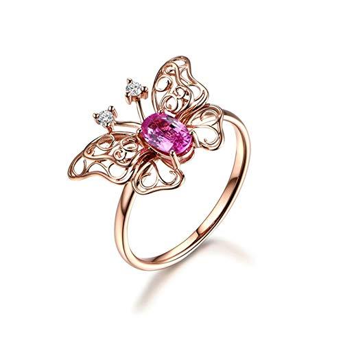 Beydodo Anillo Oro Rosa 18K de Mujer Mariposa Oval Zafiro Azul Rosa 0.55ct y Diamante 0.04ct Talla 25