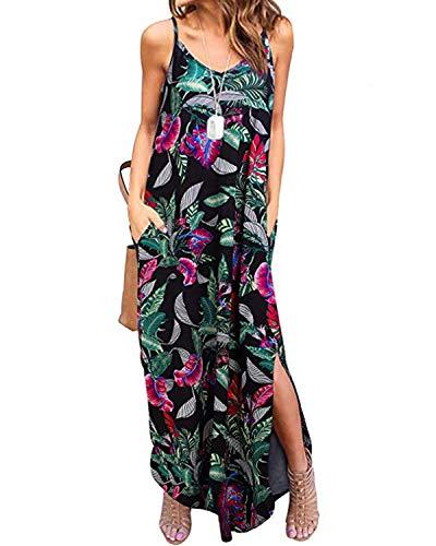 Kidsform Femme Robe d'été Longue Boho Sexy sans Manches Floral Chic Maxi Robe de Plage Fluide à Bretelle Rode de Soirée Fendue Cocktail Casual Floral 2 46 EU (Fabricant: Taille 2XL)