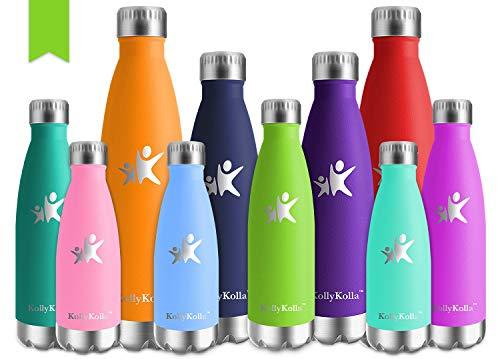 KollyKolla Bottiglia Acqua in Acciaio Inox, 750ml Senza BPA Borraccia Termica, Isolamento Sottovuoto a Doppia Parete, Borracce per Bambini, Scuola, Sport, All'aperto, Palestra, Yoga, Verde Chiaro