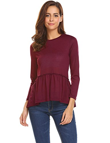 UNibelle Women's Long Sleeve Scoop Neck Pleated Front Fitted Blouse Top(Wine Red-XXL)