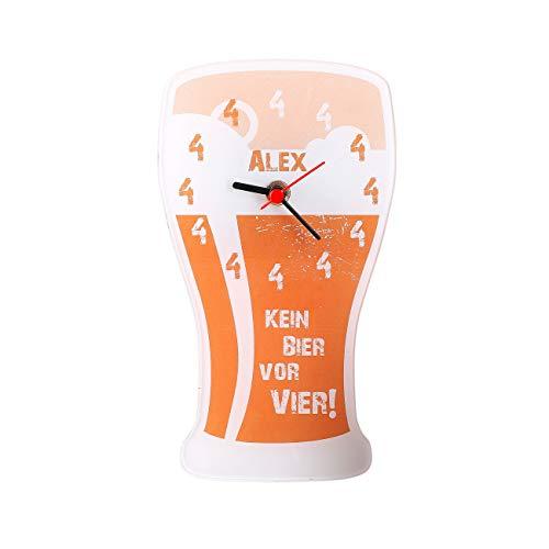 Herz & Heim® Lustige Uhr - Kein Bier vor Vier - mit Namensaufdruck