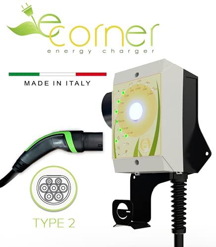 E-Corner Wall-Box Stazione di ricarica per veicoli elettrici con connettore Tipo 2 | Potenza regolabile fino a 7.4kW 32A | La stazione più compatta presente oggi | Made in ITALY | Compresa di Staffa