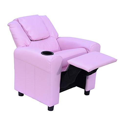 HOMCOM Kids Children Recliner Lounger Armchair Games Chair Sofa Seat PU Leather Look w/Cup Holder (Pink)