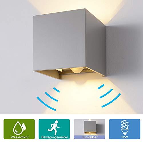 12W Wandleuchte Bewegungsmelder Aussen/Innen LED Wandbeleuchtung, Warmes Licht Wasserdicht Verstellbare Walllampe, Bewegungsmelder LED Wandleuchte Sensor für Garten/Weg Veranda hell-Warm (Grau)