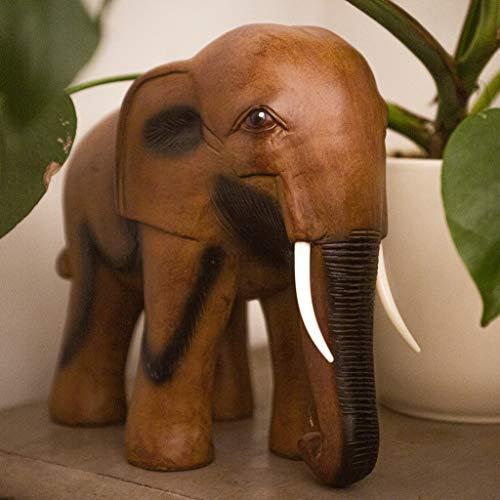 HomeZone® Statue Afrikanischer Elefant aus poliertem Kunstharz in Holzoptik, tolle Geschenkidee für Elefantenliebhaber