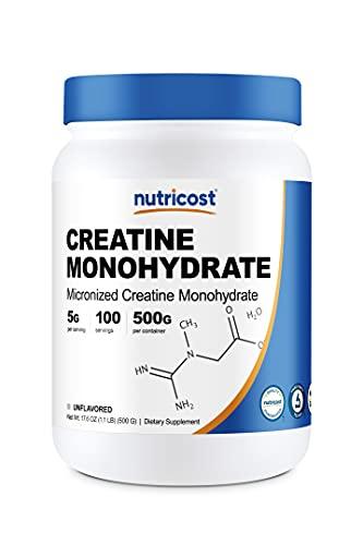 Nutricost Creatine Monohydrate Micronized Powder 500G, 5000mg Per Serv - Pure Micronized Creatine Monohydrate