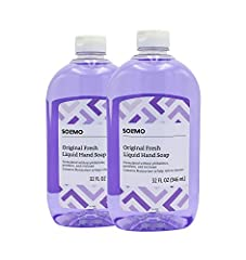 Two 32 fluid-ounce bottles of Solimo Original Fresh Liquid Hand Soap Contains moisturizer to help relieve dryness Formulated without phthalates, parabens, and triclosan For use with standard soap dispensers Created responsibly at a LEED-certified fac...