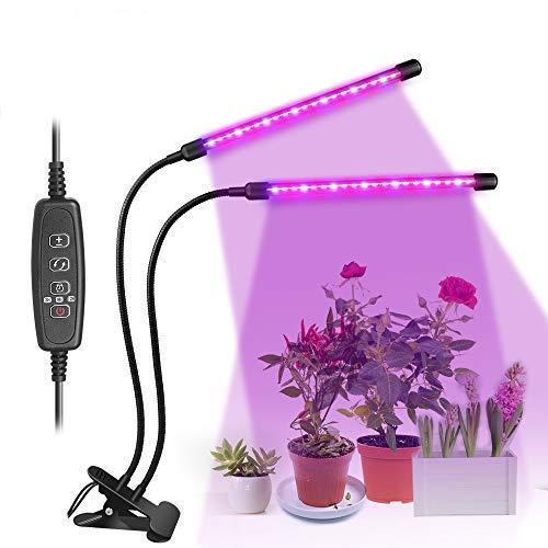 HELESIN 10W LED Pflanzenlampe, 3 Timer 3H/9H/12H, 40 LED Grow Light, 3 Modus, 8 Dimmbare Helligkeiten mit Klemme 360°Einstellbar Doppelkopf Pflanzenlicht für Zimmerpflanzen, Gartenarbeit, Gewächshaus