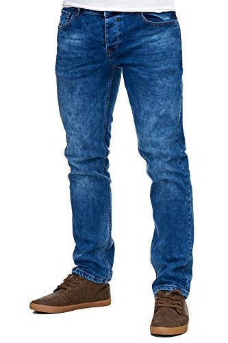 Reslad Jeans-Herren Slim Fit Basic Style Stretch-Denim Jeans-Hose RS-2063 Blau W36 / L34