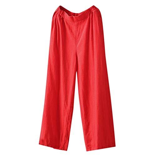 Lulupi Frauen Baumwolle Hose Lang Damen Sommerhose Einfarbiges Hose Weich Stretch Weites Bein Palazzo Hose Breite Haremshose Yogahose Hippie Hose Lange Hosen Wide Leg