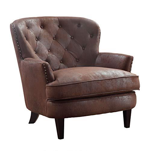 Atlantic Home Collection Sessel LEO, mit Federkern und Massivholzfüßen, Bezug aus hochwertigem Mikrofaser, Vintageleder Optik