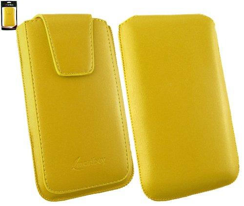 emartbuy® Sleek Serie Gelb Luxury PU Leder Slide in Tasche Hülle Schutzhülle Hülle Cover (Size 4XL) mit Ausziehhilfe geeignet für Asus Padfone E
