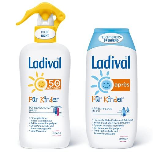 Ladival Kinder Sonnenschutz Spray LSF 50+ und Ladival Kinder Après Lotion - 2er Set - für Kinderhaut - ohne Farb- und Konservierungsstoffe - 2x 200 ml