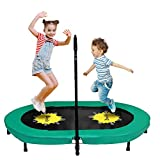 Trampoline for 2 Kids and Adults with Adjustable Handle, Doufit TR-01 Double Jumping Fitness Rebounder Trampoline for Indoor and Outdoor Exercise with Spring Pad