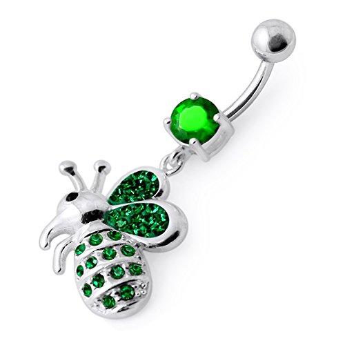 Dark Green Crystal Stein Trendy Honig Biene Design Sterling Silber Bauch Bars Piercing