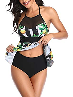 Upopby Ladies Floral Printed Tankini Swimsuit Tummy Control Two Piece Bathing Suit Swimwear for Women with High Neck Halter Tankini Top and Mid Waist Bottom Green Floral XL
