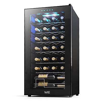 WIE 28 Bottle Wine Cooler Refrigerator Compressor White Red Wine Fridge Champagne Chiller Countertop Freestanding Wine Cellars w/Digital Control UV-Protective Finish Auto-Defrost Double-layer Glass 41°F-64°F Wine Fridge for Home Bar